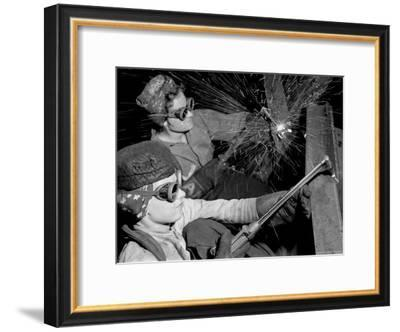 Female Welders at Work in a Steel Mill, Replacing Men Called to Duty During World War II-Margaret Bourke-White-Framed Premium Photographic Print