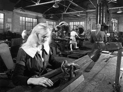 Female Workers Sharpening Saw Blades at Slack Sellars and Co, Sheffield, South Yorkshire, 1963-Michael Walters-Photographic Print