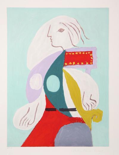 Femme a la Robe Multicolore, 22-B-Pablo Picasso-Premium Edition