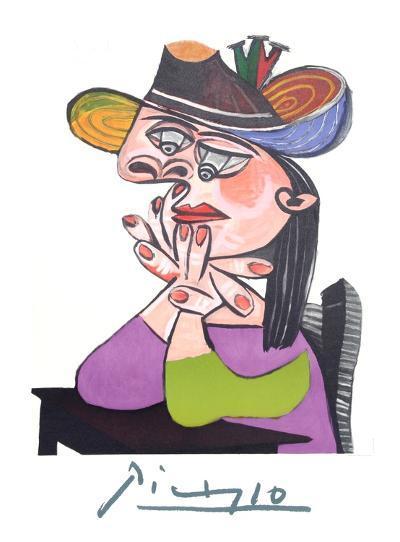 Femme Accoudee En Robe Mauve Et an Drapeau-Pablo Picasso-Collectable Print