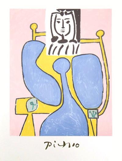 Femme Assise a la Robe Bleue-Pablo Picasso-Collectable Print