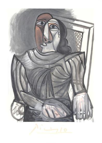 Femme Assise a la Robe Grise-Pablo Picasso-Collectable Print