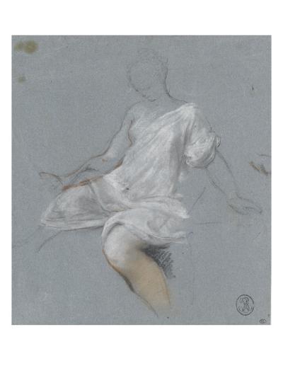 Femme assise, en chemise, tournée vers la gauche-Nicolas Vleughels-Giclee Print