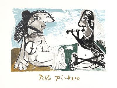Femme Assise et Joueur de Flute-Pablo Picasso-Collectable Print