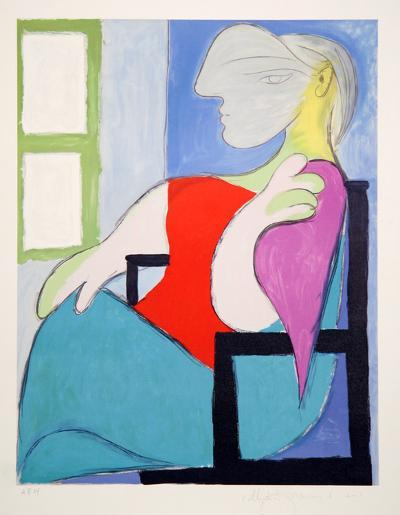 Femme Assise Pres d'Une Fenetre, 5-D-Pablo Picasso-Premium Edition