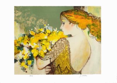 Femme au bouquet jaune-Sachiko Imai-Collectable Print