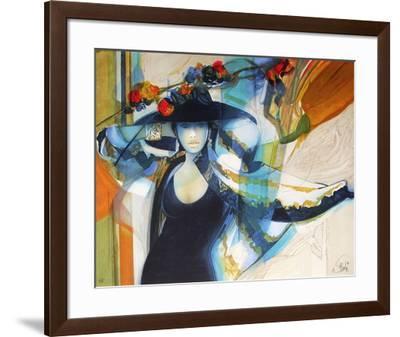 Femme au chapeau I-Jean-Baptiste Valadie-Framed Premium Edition