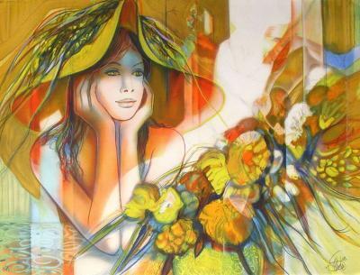 Femme au chapeau II-Jean-Baptiste Valadie-Premium Edition