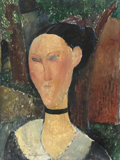 Femme au ruban de velours-Amedeo Modigliani-Giclee Print