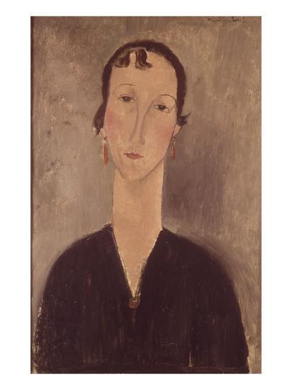 Femme aux boucles d'oreilles-Amedeo Modigliani-Giclee Print