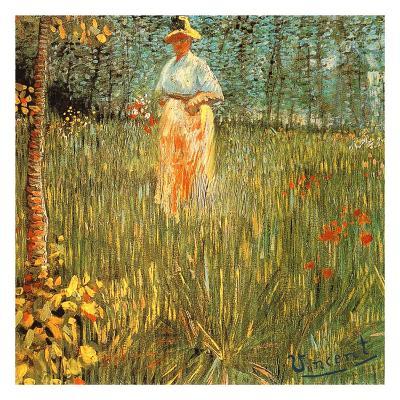 Femme Dans Un Jardin-Vincent van Gogh-Art Print
