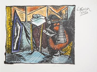 Femme Dessinant, Femme Assoupie, 20-C-Pablo Picasso-Premium Edition