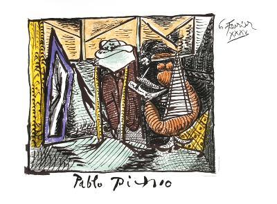 Femme Dessinant Femme Assoupie-Pablo Picasso-Collectable Print