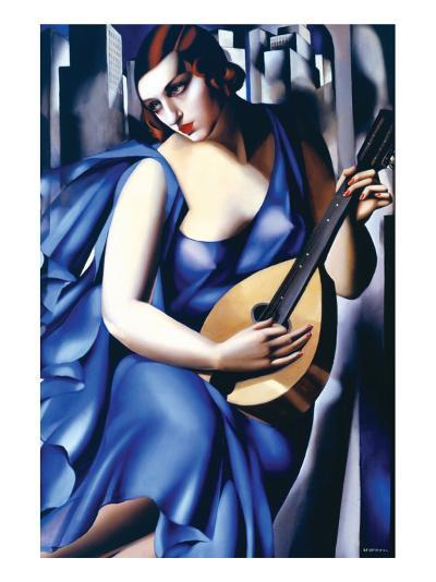 Femme en Bleu Avec Guitare-Tamara de Lempicka-Premium Giclee Print