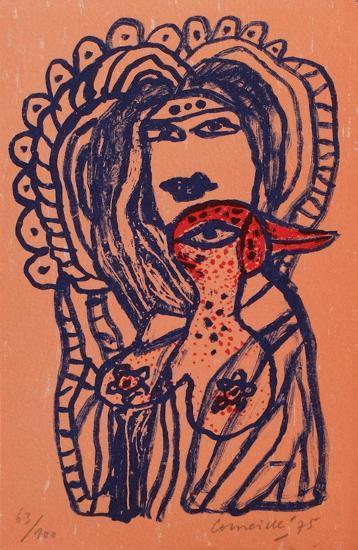 Femme et oiseau au bec rouge-Guillaume Corneille-Limited Edition