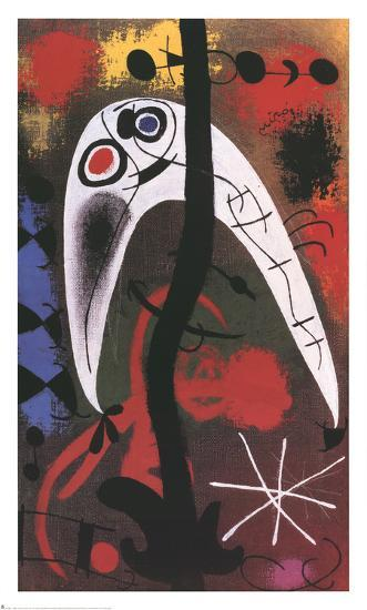 Femme et Oiseau dans la nuit-Joan Mir?-Art Print