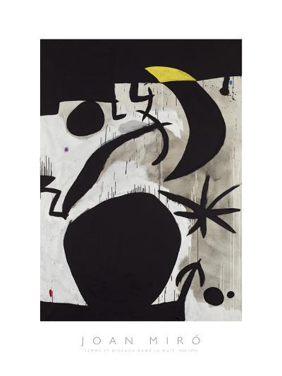 Femme et Oiseaux Dans la Nuit, 1969 - 1974-Joan Miro-Art Print