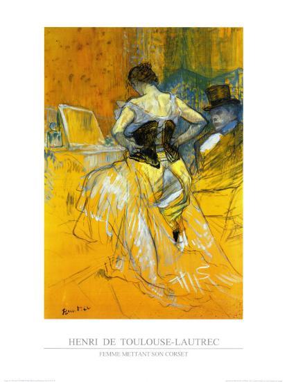Femme Mettant Son Corset-Henri de Toulouse-Lautrec-Art Print