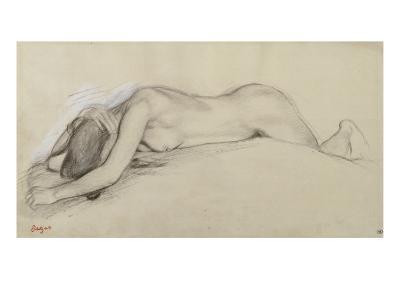 Femme nue allong?e sur le ventre, la t?te entre les bras-Edgar Degas-Giclee Print