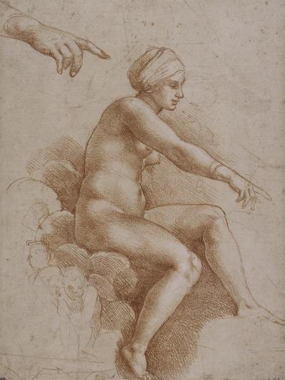 Femme nue assise sur des nuées portée par deux enfants ailés, reprise de la main droite et-Raffaello Sanzio-Giclee Print
