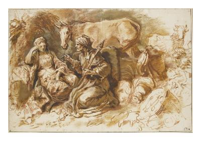 Femme racontant l'histoire de Psyché à une fille devant Lucius changé en âne-Giovanni Benedetto Castiglione-Giclee Print