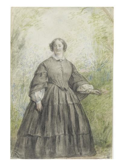 Femme vêtue d'une robe à crinoline grise, devant un bosquet-Georges Rouget-Giclee Print