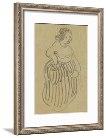 Femme vêtue d'une robe rayée-Vincent van Gogh-Framed Giclee Print