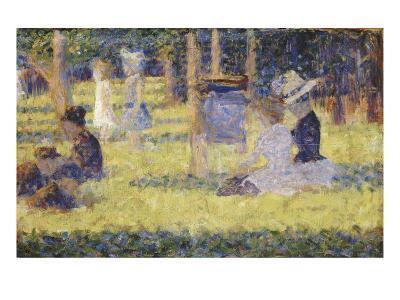 femmes assises et voiture d'enfant-Georges Seurat-Giclee Print
