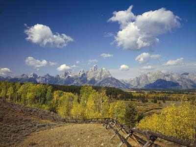 Fence Bordering Ranch Near the Teton Range-Craig Tuttle-Photographic Print