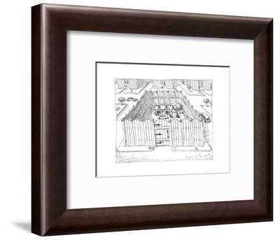 Fenced in homes - Cartoon-John O'brien-Framed Premium Giclee Print
