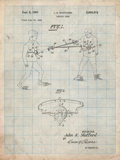 Fencing Game Patent-Cole Borders-Art Print