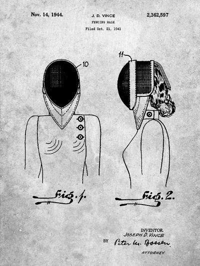 Fencing Mask Patent-Cole Borders-Art Print