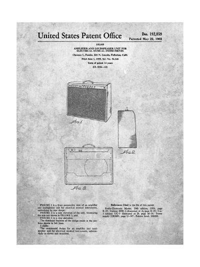 Fender 1962 Pro Amp Patent-Cole Borders-Art Print