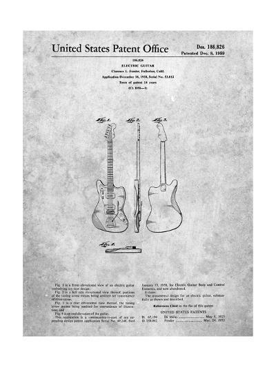 Fender Jazzmaster Guitar Patent-Cole Borders-Art Print
