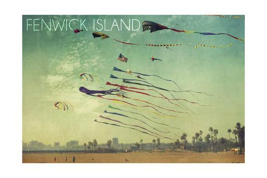 Fenwick Island, Delaware - Kites and Beach-Lantern Press-Art Print