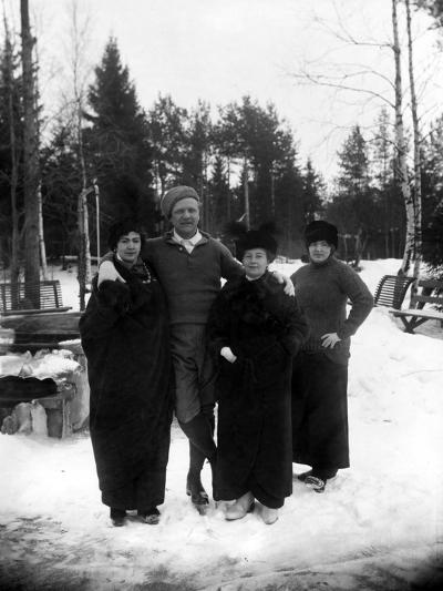 Feodor Chaliapin Skating with His Wife and Sisters, 1913--Photographic Print