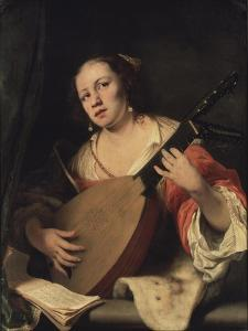 A Lady Playing the Lute, 1654 by Ferdinand Bol