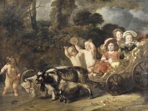 Enfants nobles (famille Trip?) dans un char trainé par des chèvres (dit autrefois : les enfants de by Ferdinand Bol