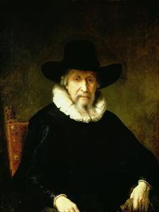 Portrait of a Gentleman Wearing a Ruff and Dark Clothes with a Wide Brimmed Hat by Ferdinand Bol