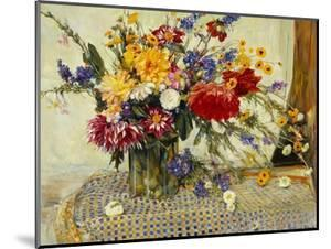 Delphiniums, Roses, Peonies, Dahlias and Other Flowers in a Glass Vase by Ferdinand Brod