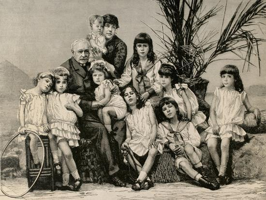 Ferdinand De Lesseps (1805-1894) with His Family, 1886--Giclee Print