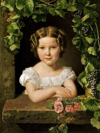 Little Girl at the Window Entwined with Vine Leaves