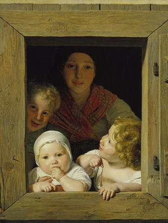 Peasant Woman with Three Children at the Window, 1840
