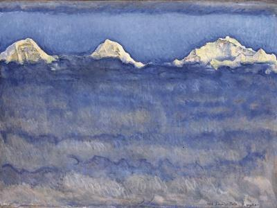 The Eiger, Monch and Jungfrau Peaks Above the Foggy Sea