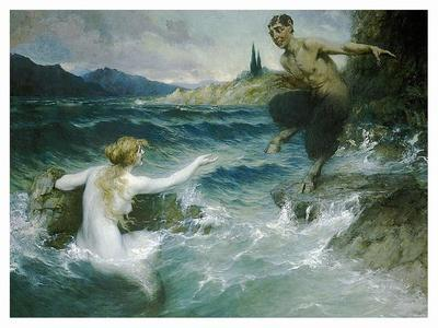 A Mermaid Tempting A Satyr Into The Water