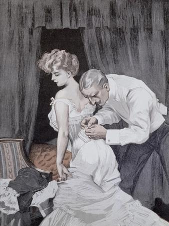 Suspicious Husband Observing the Alteration in the Tying of His Wife's Corset, 1909