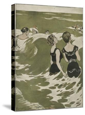 Two German Lady Bathers Watch Other Swimmers Playing in the Waves
