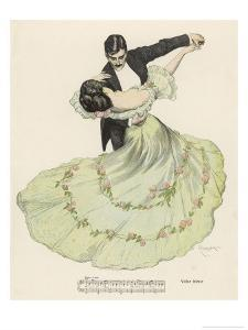 Valse Bleue, Her Wide Skirt Swirls Gracefully as Her Partner Leads Her Through a Passionate Waltz by Ferdinand Von Reznicek