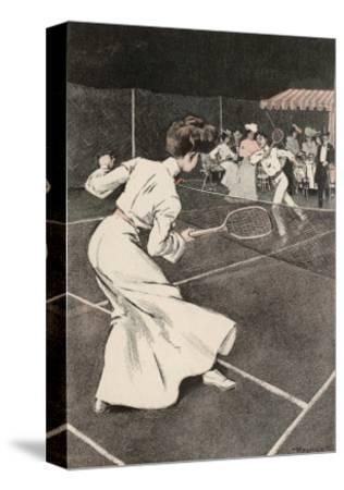 Woman Playing Tennis in Long White Skirt