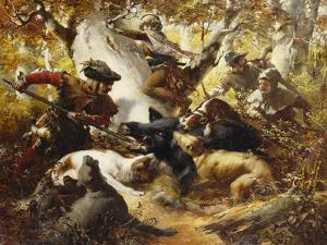 The Wild Boar Hunt by Ferdinand Wagner